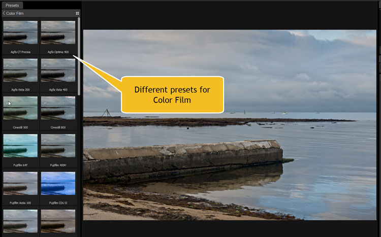 Image: There are many different presets that you can use. You can see a small version (thumbnail) of...