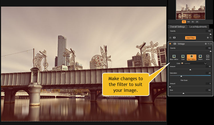 Image: For each filter there are windows where you can make adjustments to the filters you have appl...