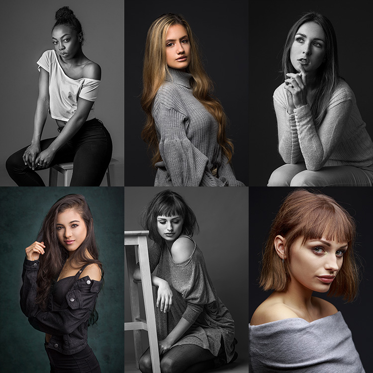 The Power of Shooting Simply with One Light and a Reflector - 6 images of portraits of ladies