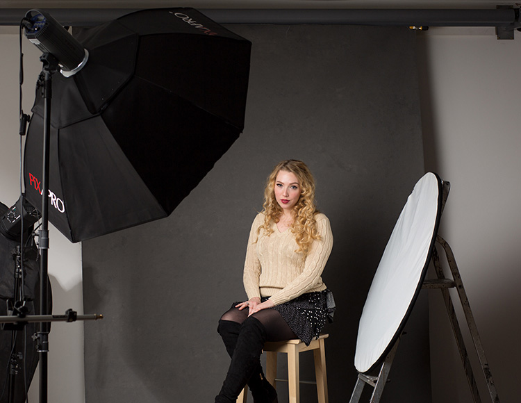 The Power of Shooting Simply with One Light and a Reflector - studio setup behind the scenes shot