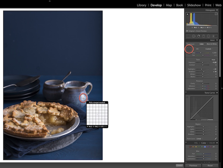 Using the white balance eye dropper tool in Lightroom to color correct - How to Edit Food Photography Images Using Lightroom