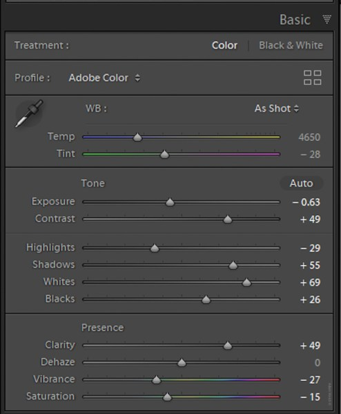 Understanding Creative Profiles in Lightroom Classic CC - sliders in LR