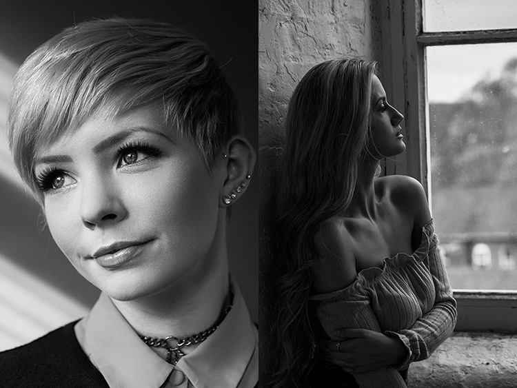 two b/w portraits - How to Mimic Window Light in a Studio Environment