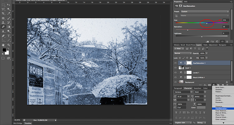Adjustments Layer Hue Saturation Tonal Effects Photoshop Tutorial