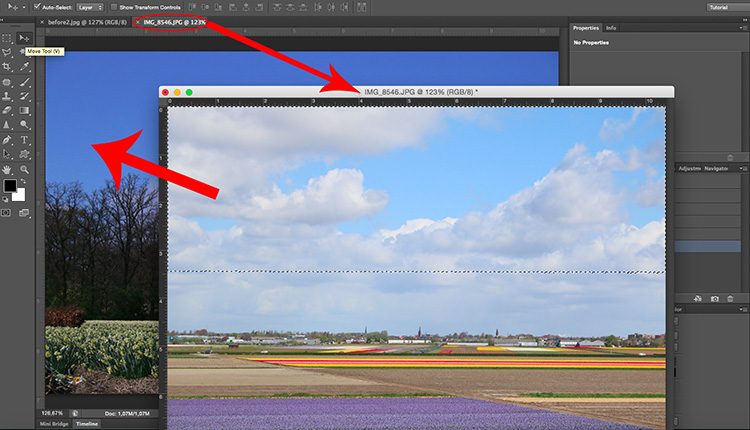 Paste sky Photoshop tutorial drag subject clouds
