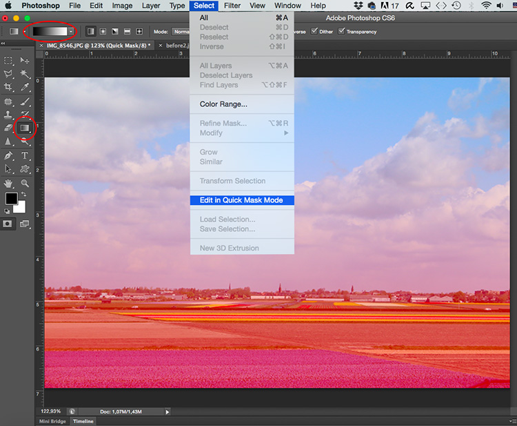 Paste sky Photoshop tutorial quick mask selection gradient - Two Ways to Replace the Sky with Photoshop