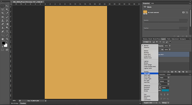 Solid Color Soft Light Tonal Effects Photoshop Tutorial
