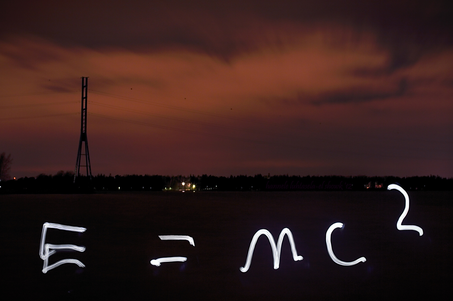 Einstein's famous equation made by light painting.