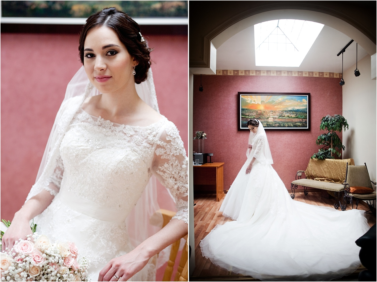 Tips for Better Bridal Portraits - two photos of brides in a pink room