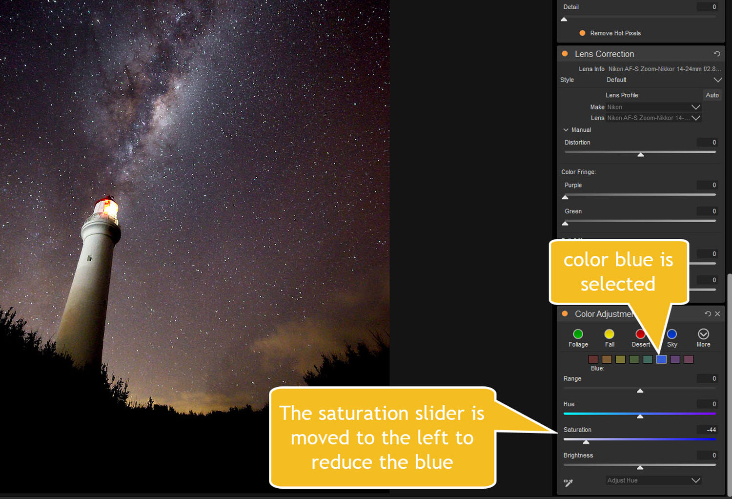 reducing blue saturation - Tips for Processing Night Photography with ON1 Photo RAW 2018