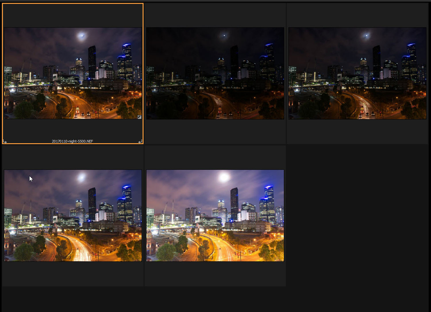 Tips for Processing Night Photography with ON1 Photo RAW 2018 - bracketed set of images