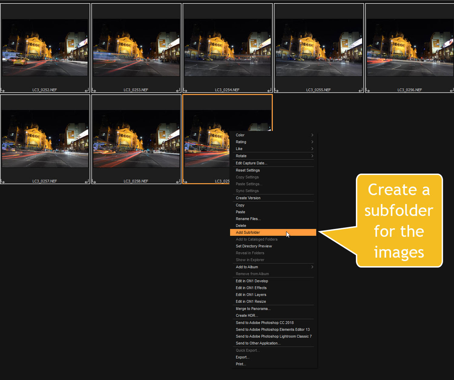 add subfolder - Tips for Processing Night Photography with ON1 Photo RAW 2018