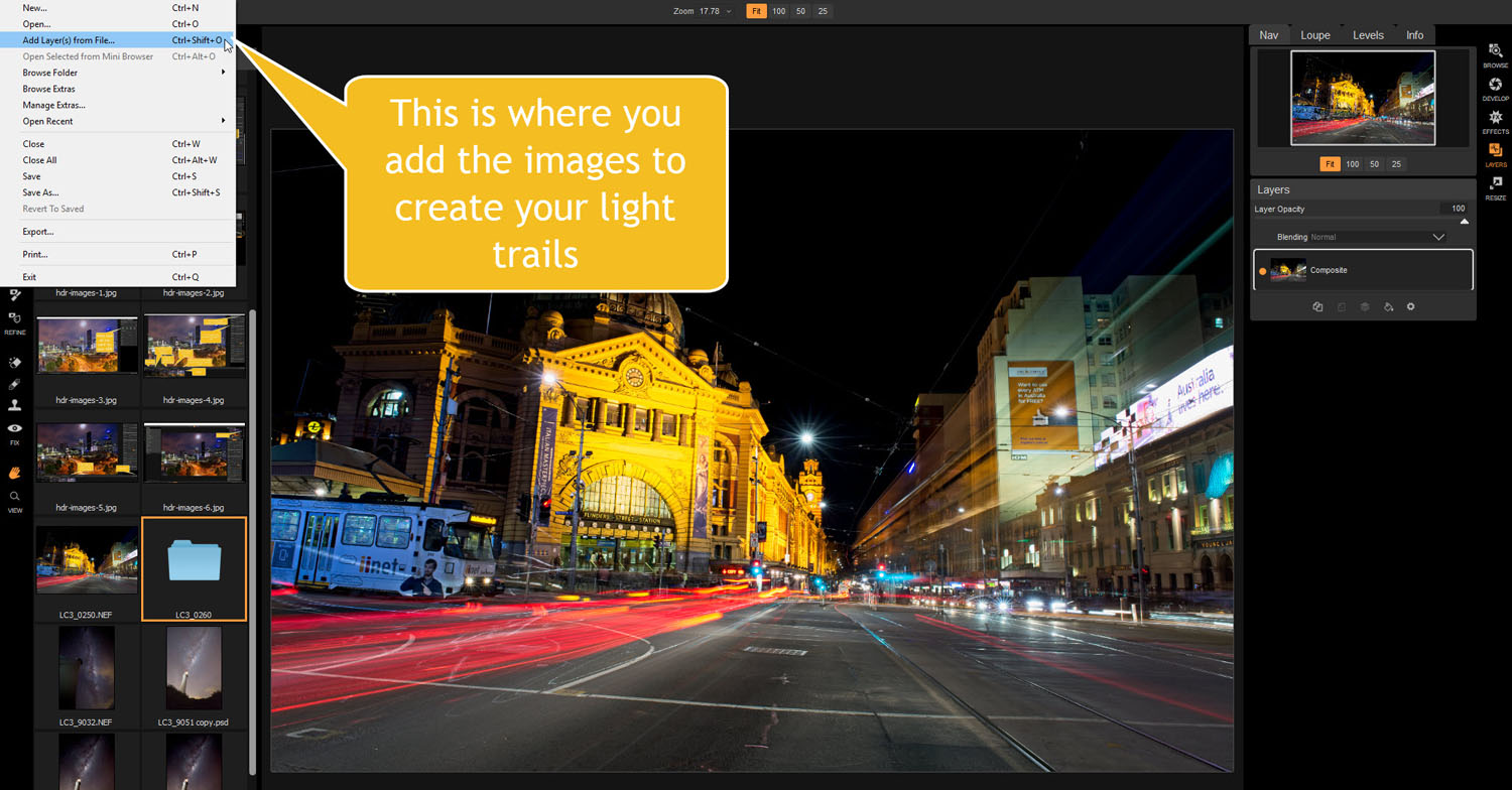 add images from file - Tips for Processing Night Photography with ON1 Photo RAW 2018