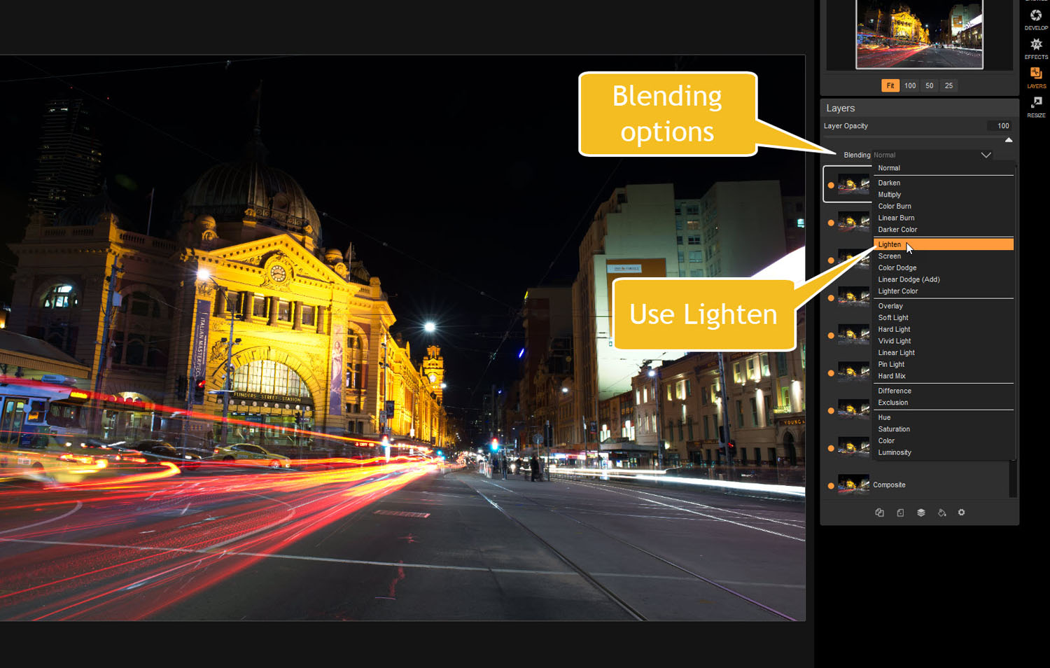 blending options - Tips for Processing Night Photography with ON1 Photo RAW 2018