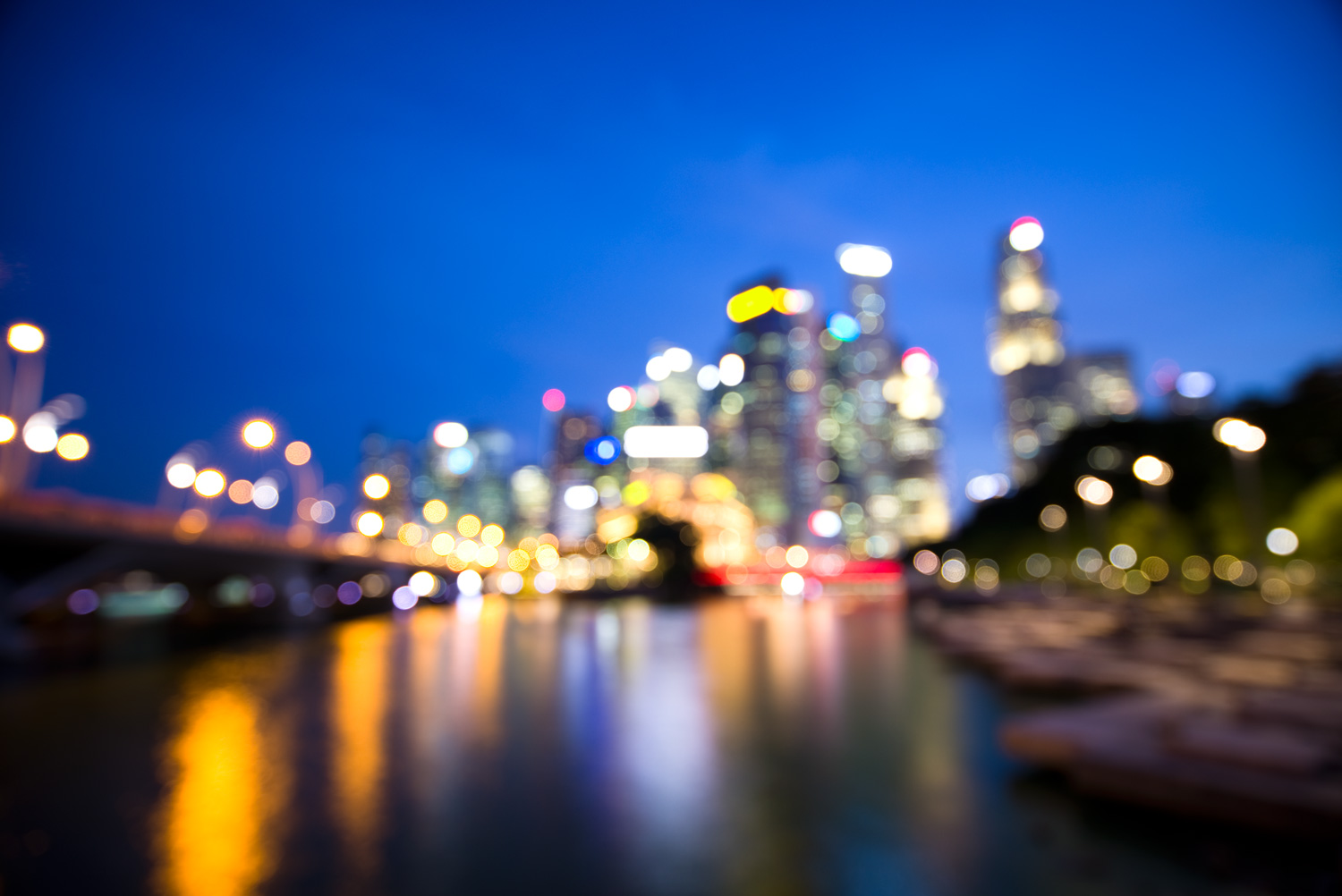 Singapore out of focus - Out of Focus Cityscape Bokeh Images at Blue Hour