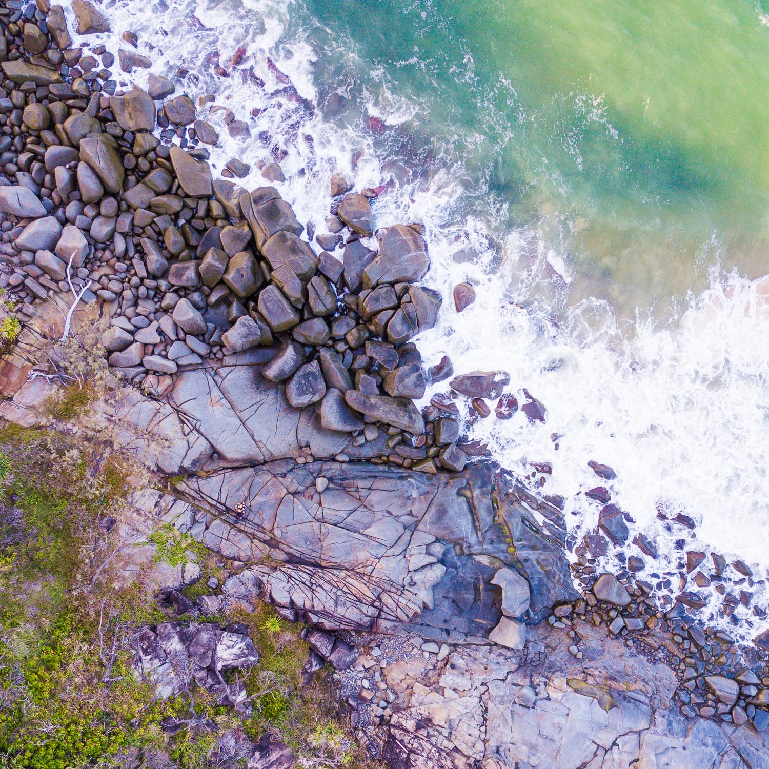 How to Work the Scene to Get More Great Photos - overhead view of a rocky beach