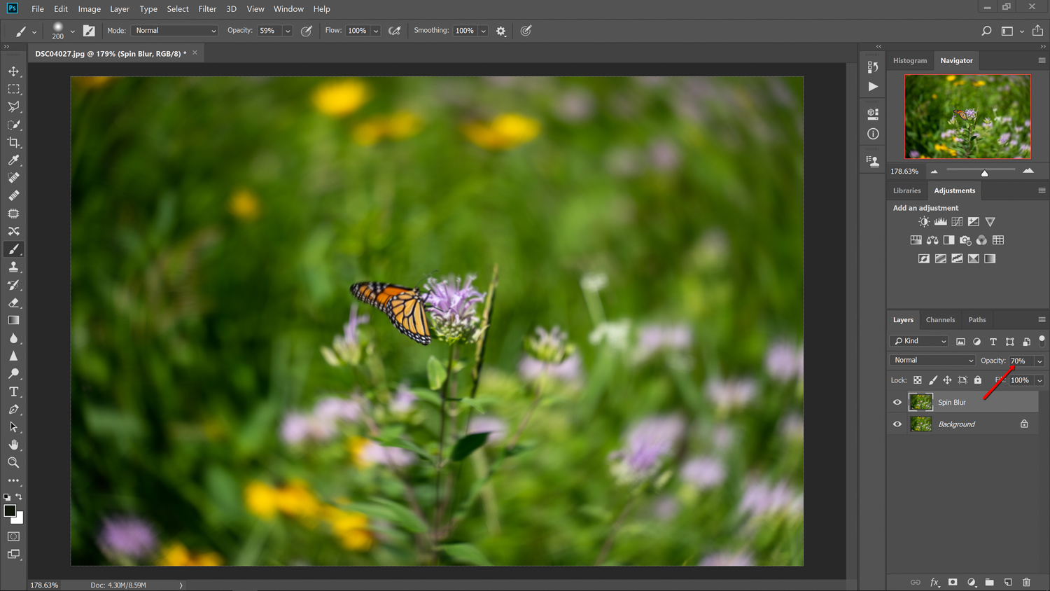 70% opacity level - How to simulate a Swirly Bokeh in Photoshop