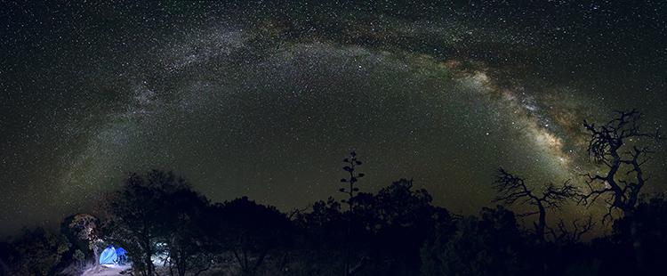Image: Campsite panorama of the night sky.