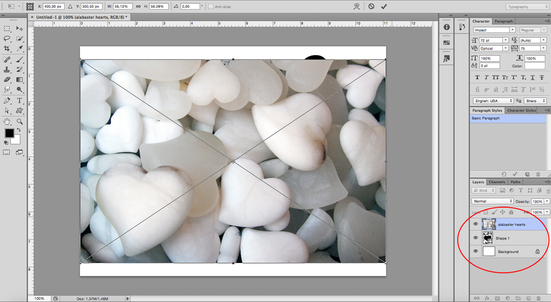 image-filled shapes Photoshop tutorial Place Image