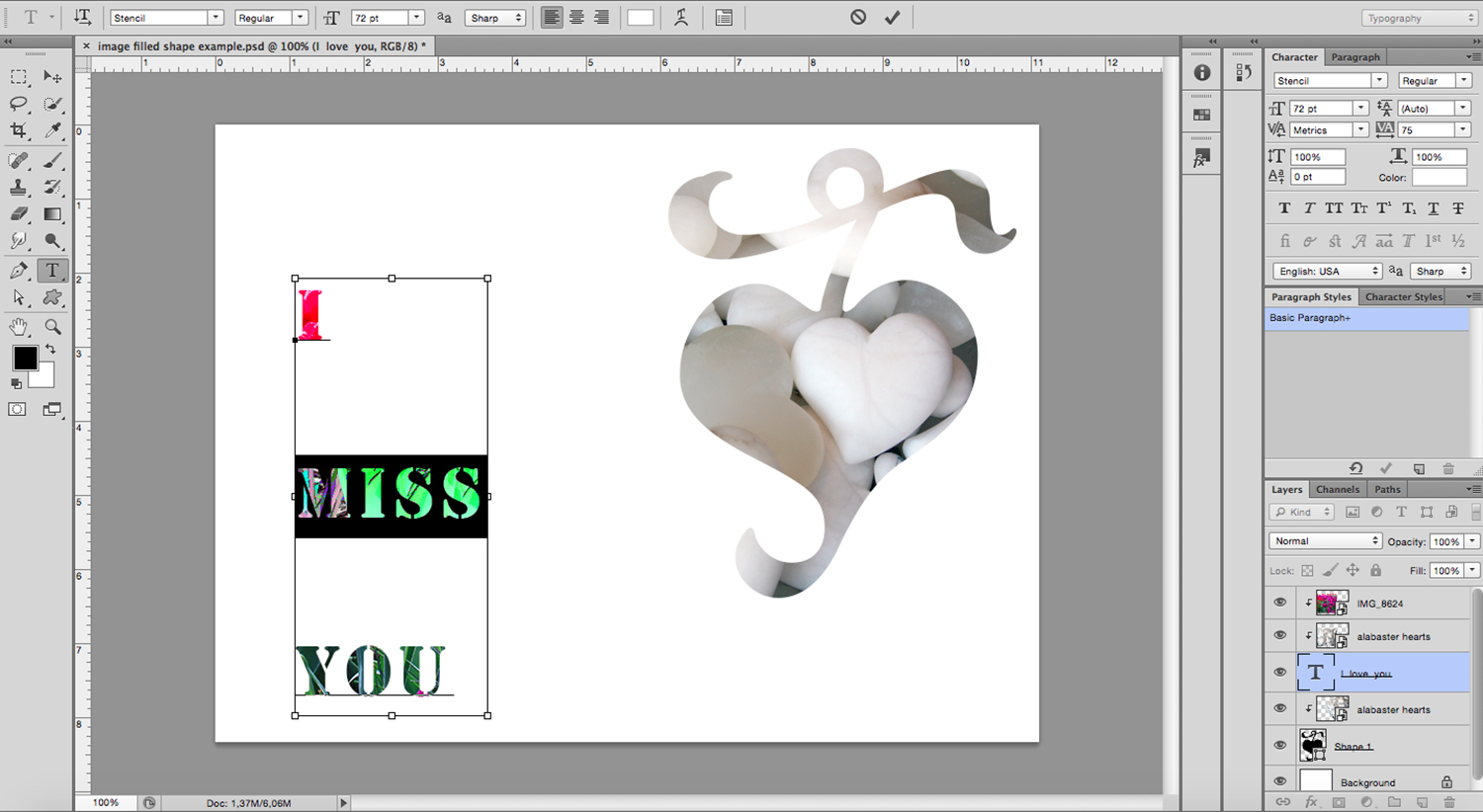 image-filled text Photoshop tutorial edit type