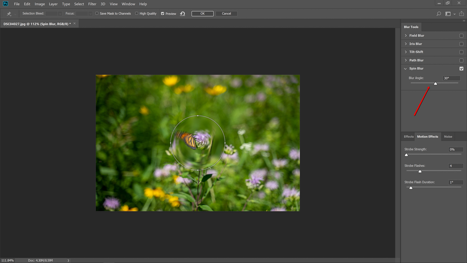 blurring corner - How to simulate a Swirly Bokeh in Photoshop