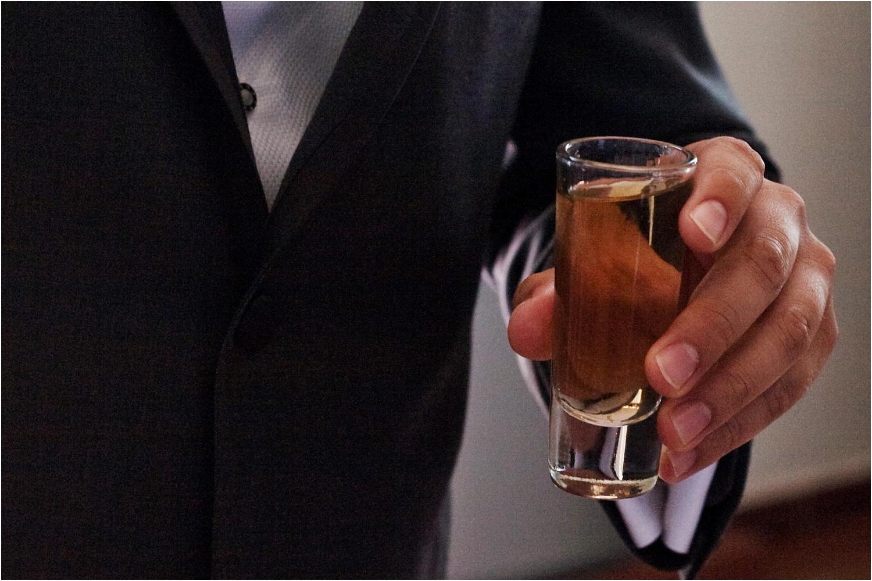 shot of alcohol - wedding day photography