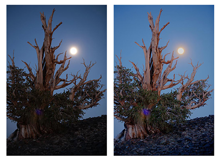 Full moon before and after - Making the Best Use of HDR in Landscape Photography