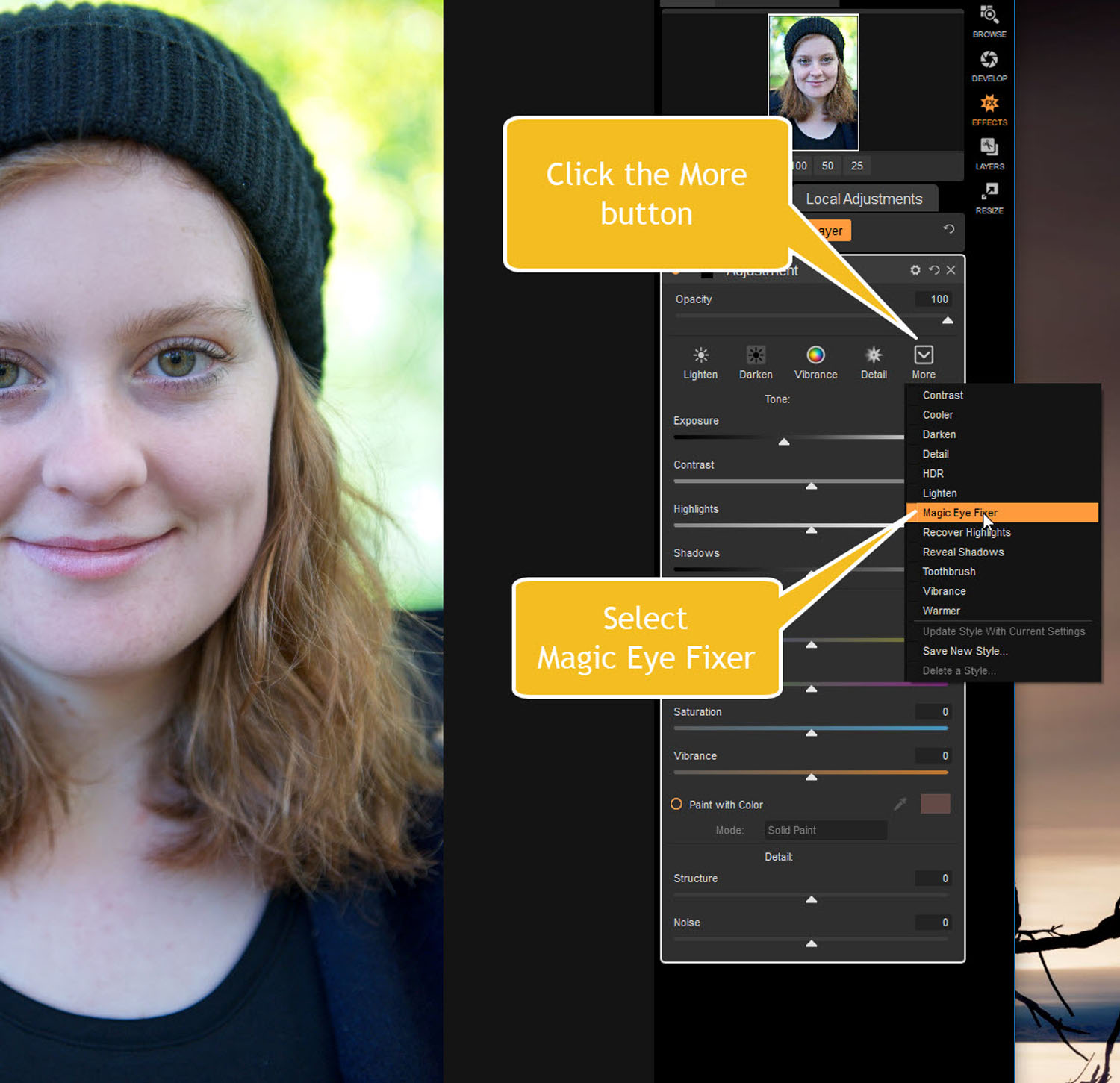 Tips for Portrait Processing with ON1 Photo RAW 2018 - magic eye fixer