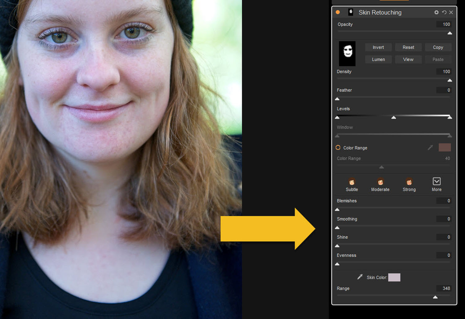 Tips for Portrait Processing with ON1 Photo RAW 2018 - sliders at the bottom