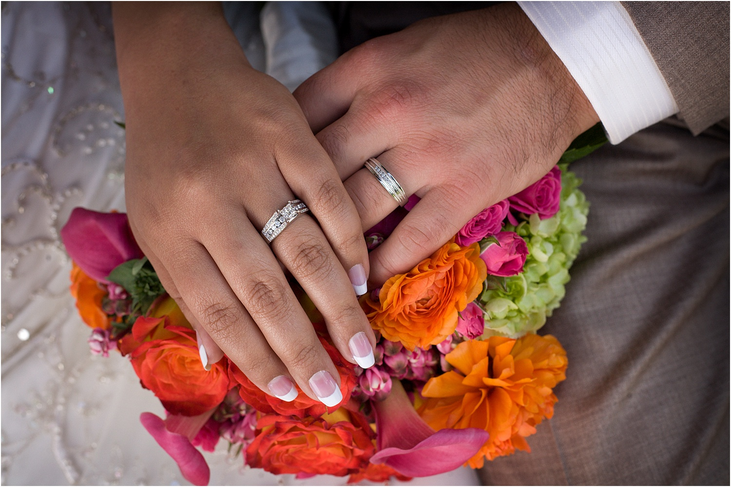 wedding rings and hands - wedding day photography