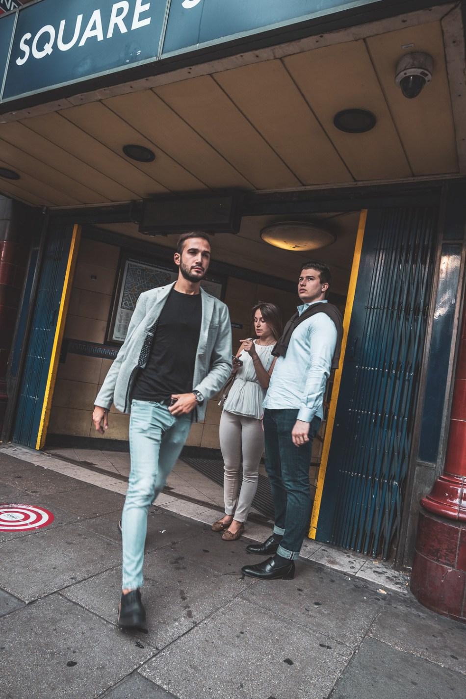 Focus tracking man walking - street photography