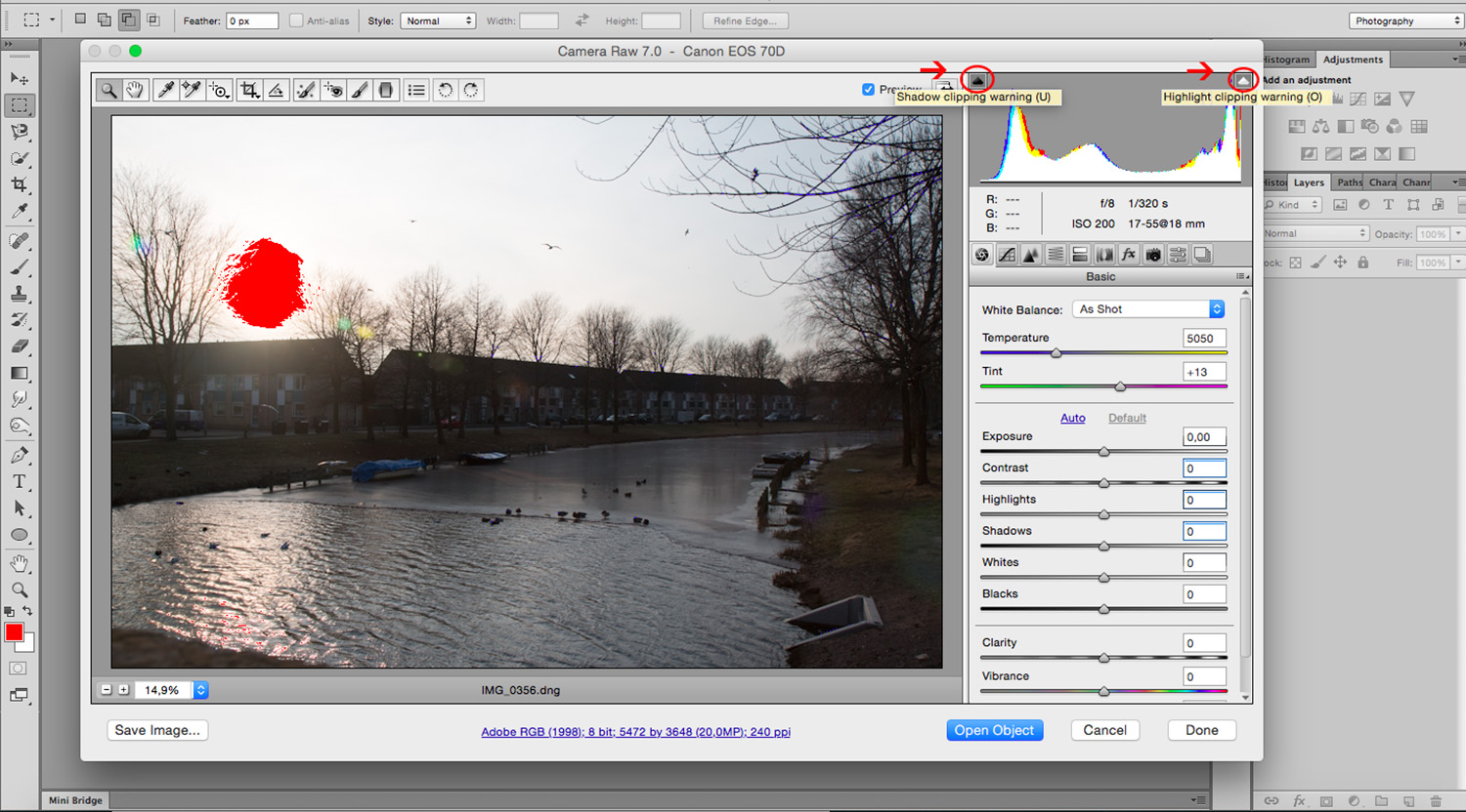 Balance Exposure in Adobe Camera Raw to Improve Your Photographs - Activate Warnings