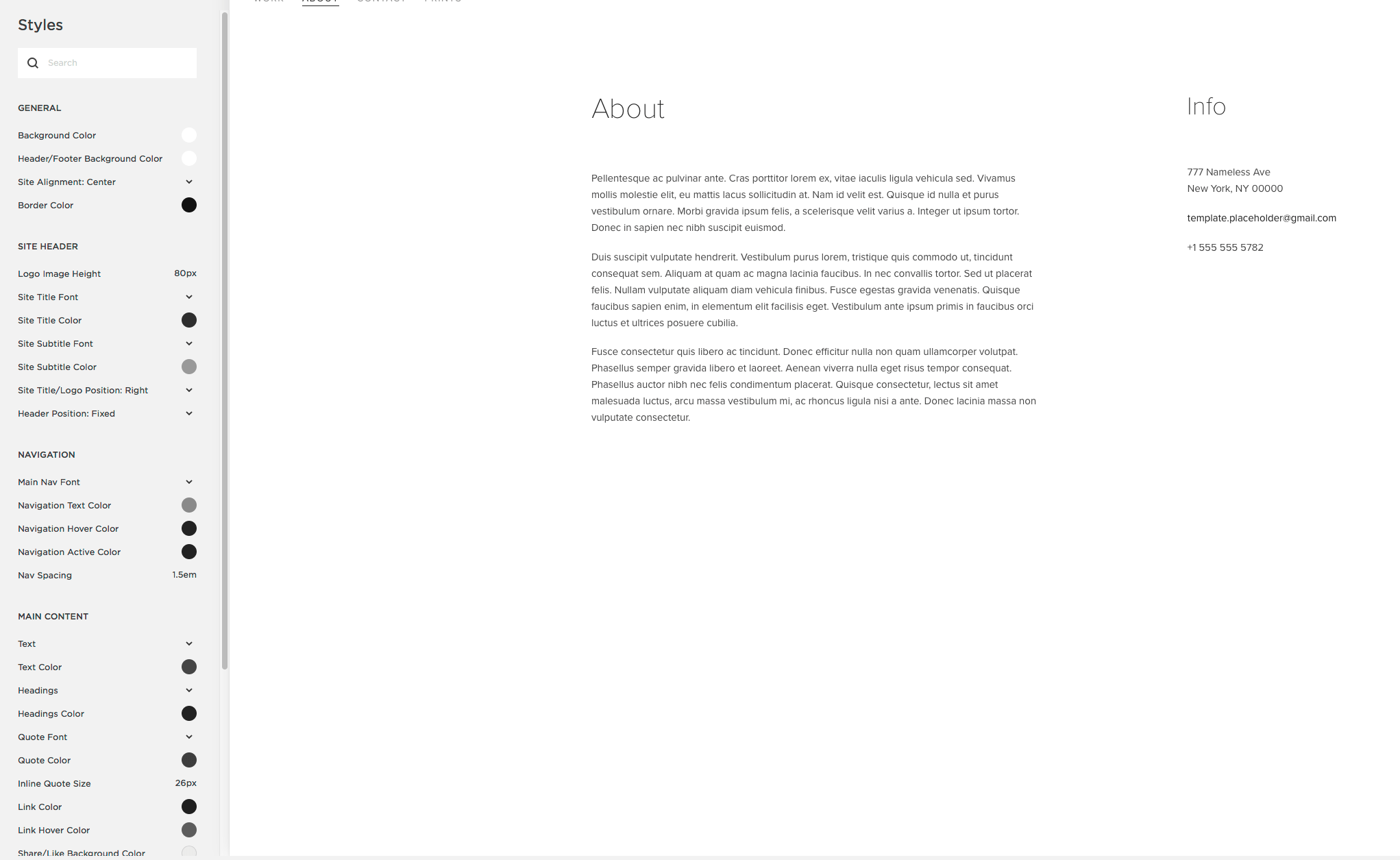 A screenshot showing Squarespace styles menus