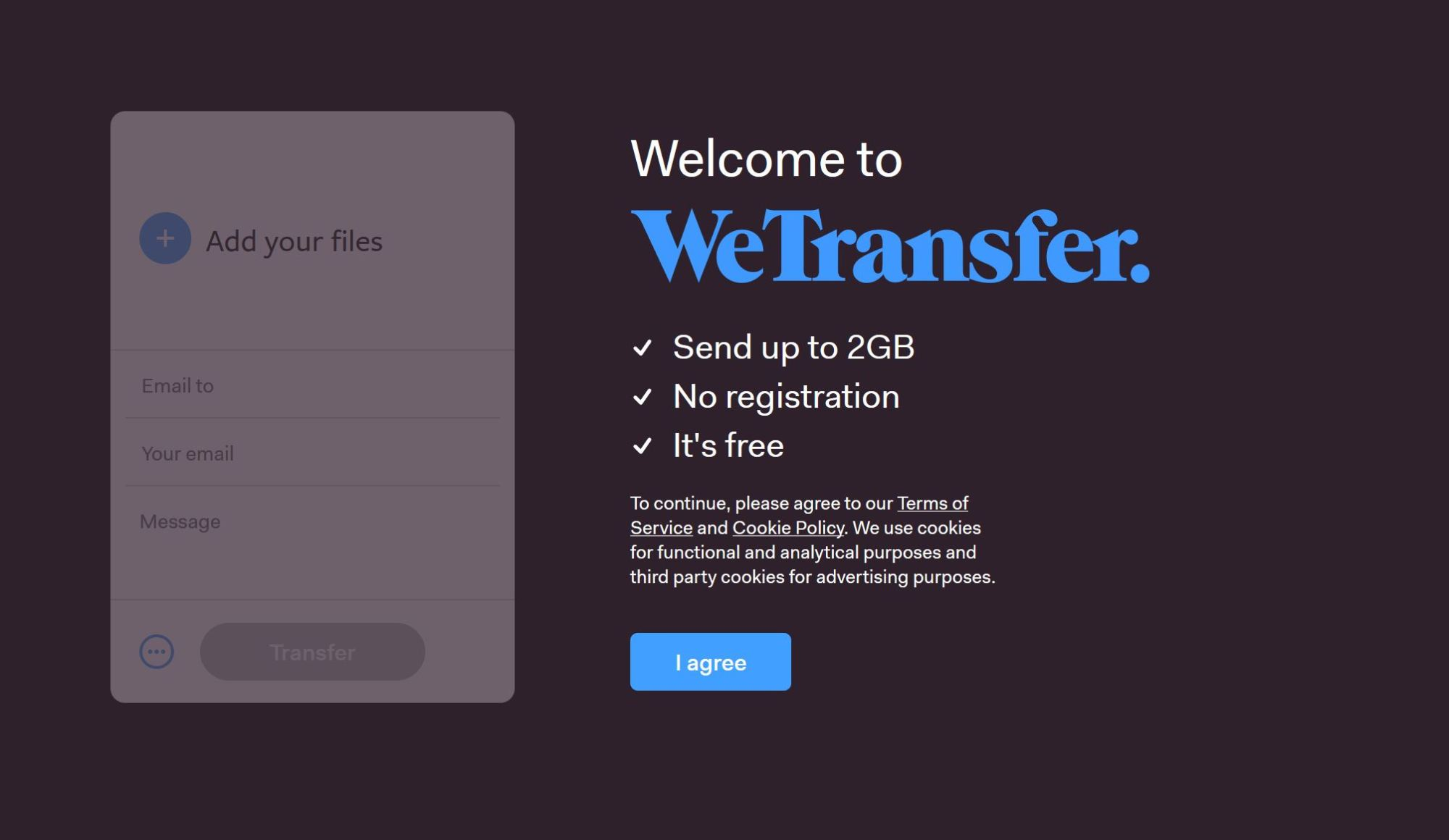 Image: WeTransfer allows for digital file sharing