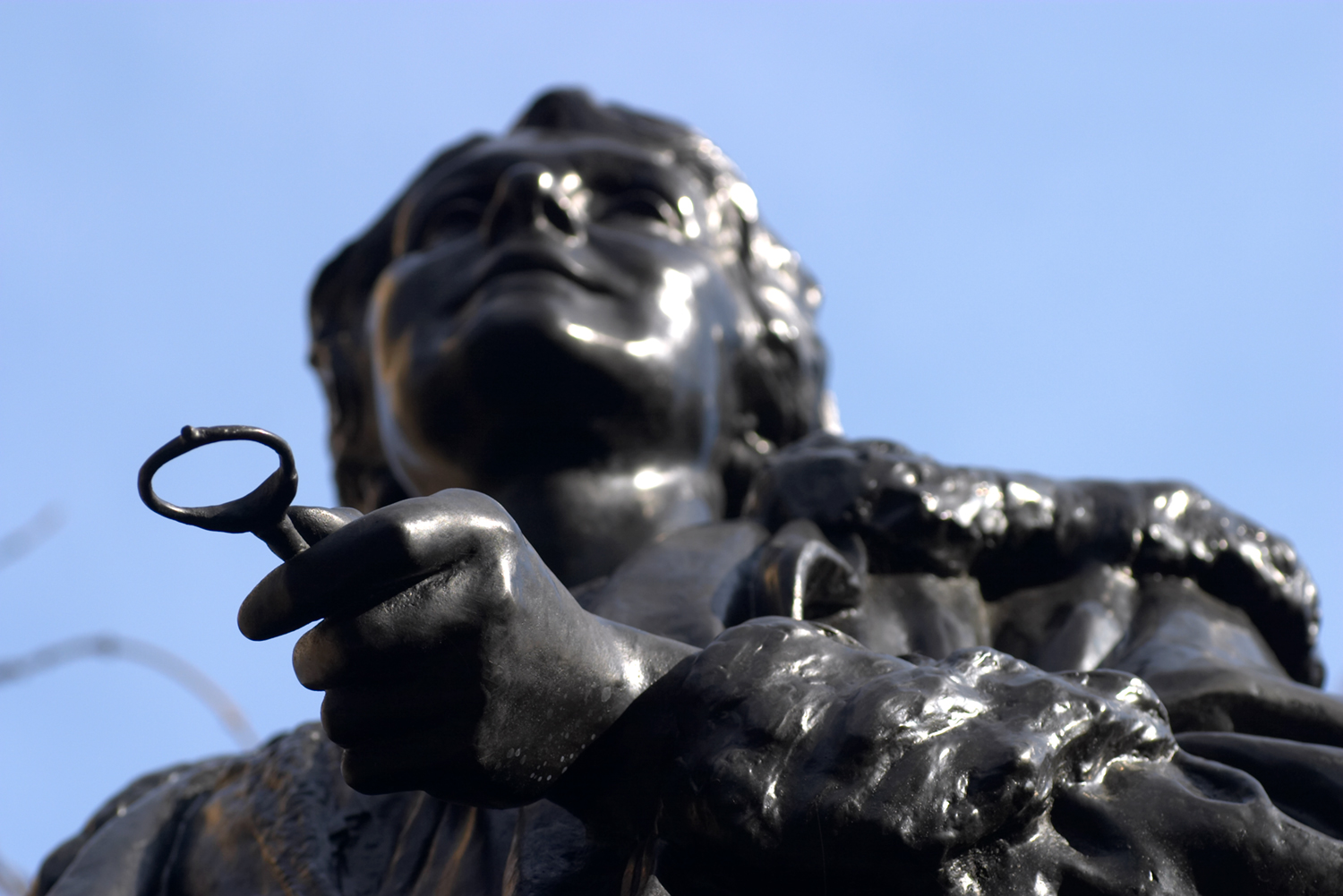 Low angle photography - statue of Emmeline Pankhurst in London
