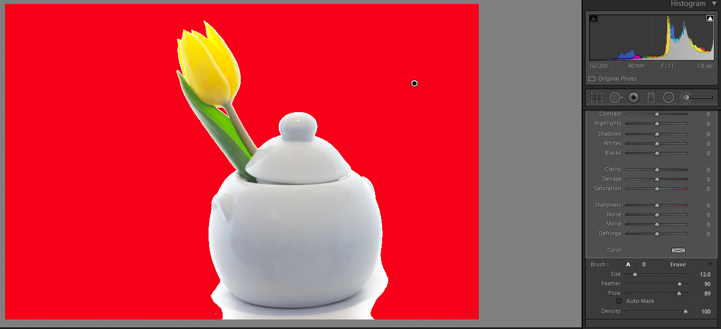 Image: Turning on the Highlight Clipping feature in Lightroom allowed painting in more brightness wi...