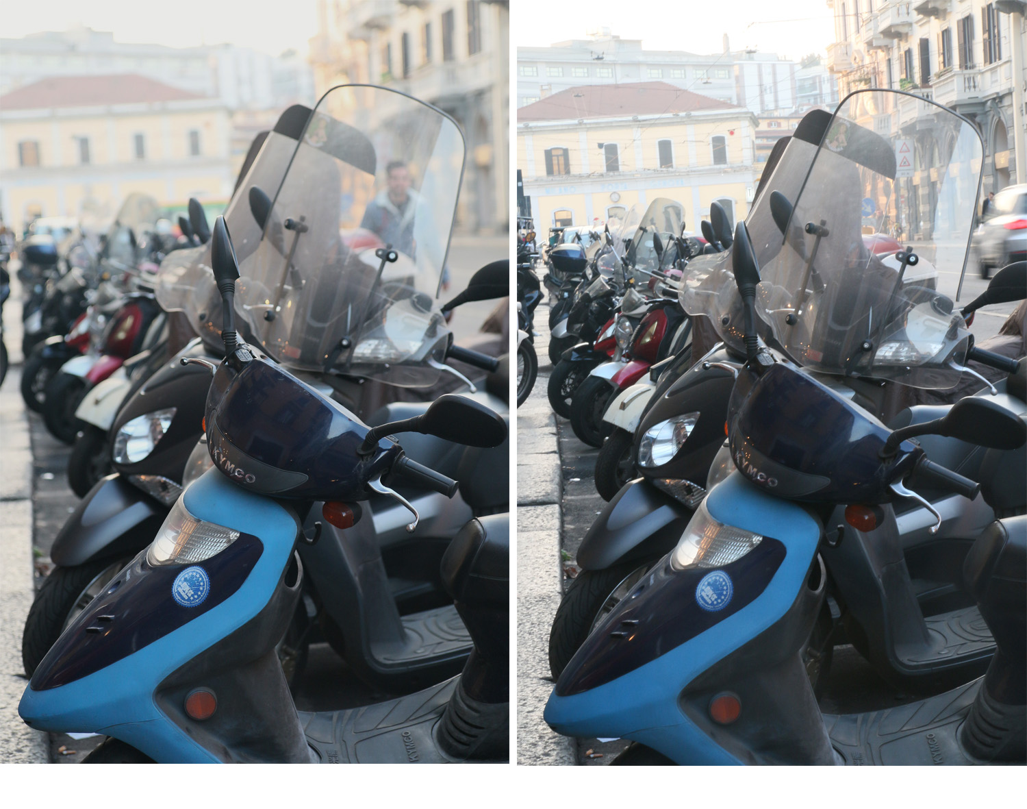 Image: Left image – APERTURE PRIORITY:1/200, f/2.8, ISO 800 = Shallow depth of field. Right im...