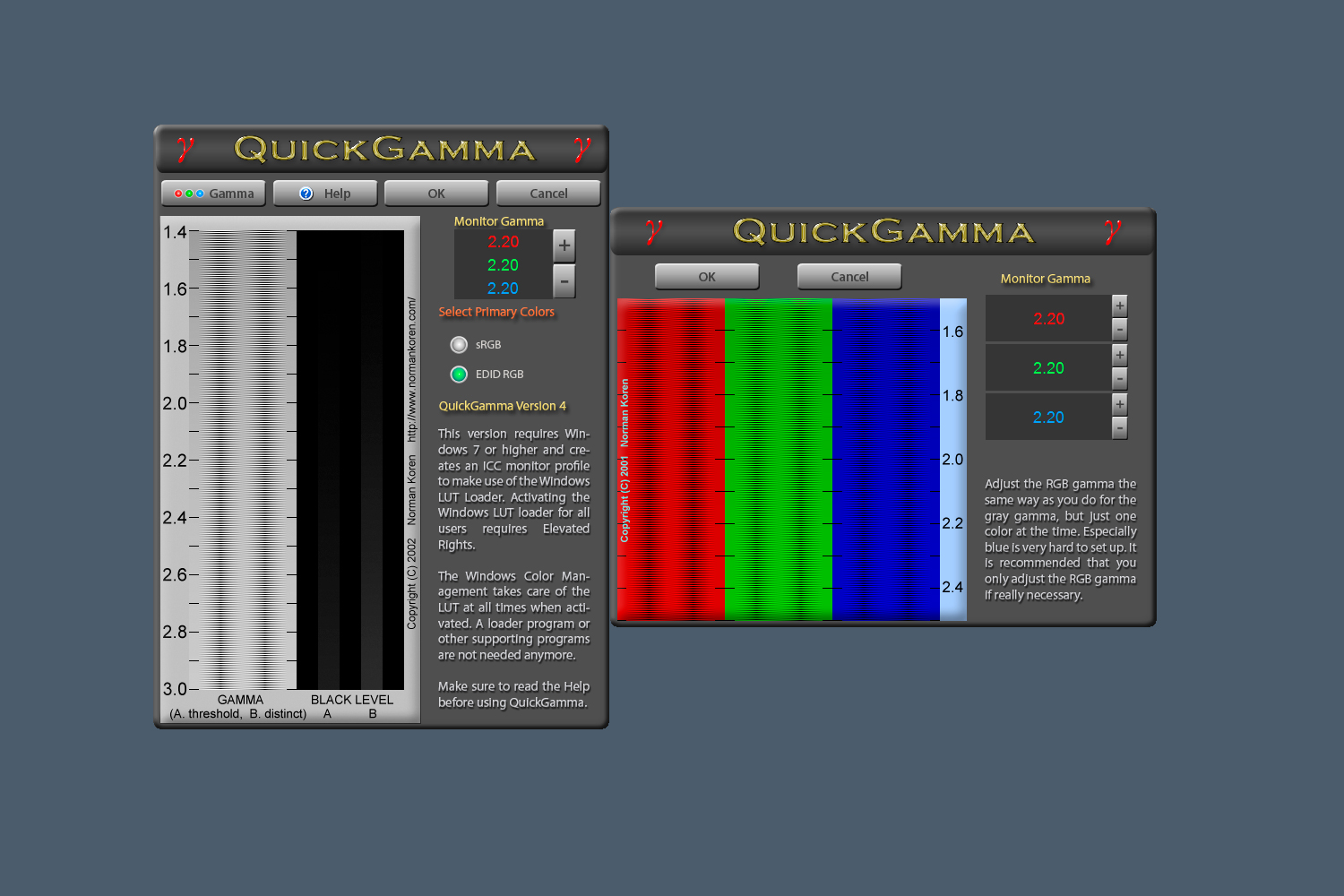 Budget monitor calibration - QuickGamma software