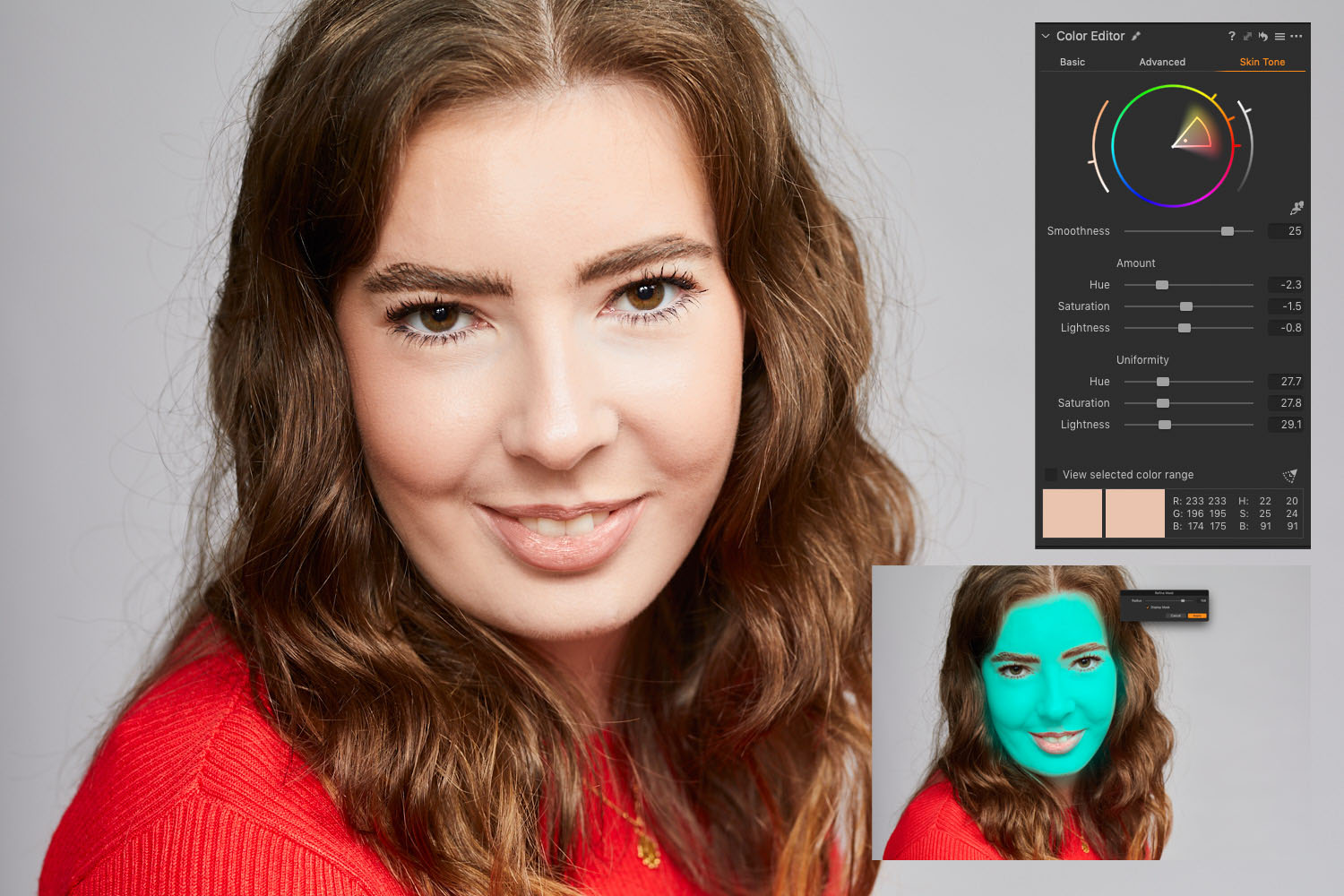 Capture One screen grab showing mask and colour tools