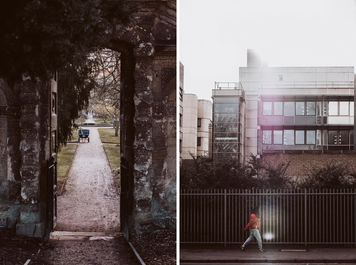 Two street images of Oxford, UK. One is at the Botanical Gardens looking through a doorway at a wheelbarrow. The other is a woman walking in front of a science lab. 6 - Can New Gear Kickstart Your Photography - Charlie Moss