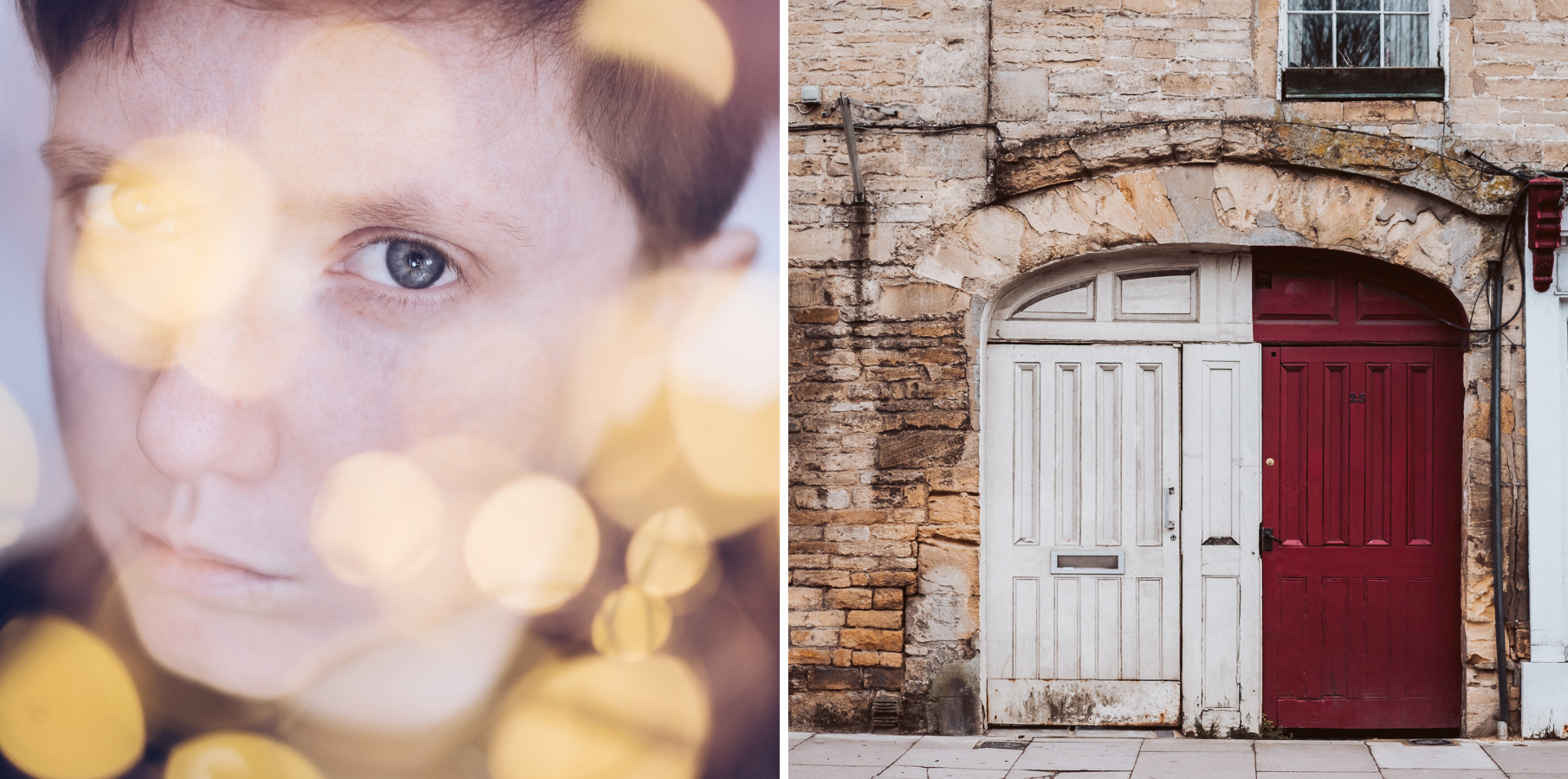 Hexbyte - Glen Cove - News Two images. One is a self-portrait with out-of-focus fairy lights. The other is a white and red doorway. 7 - Can New Gear Kickstart Your Photography - Charlie Moss