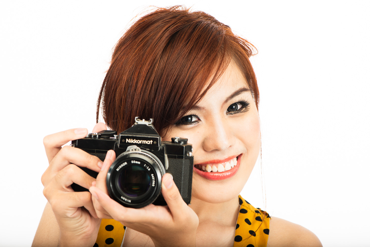 Royalty Free Editorial Stock Photography - What is it? Woman with a SLR Film Camera