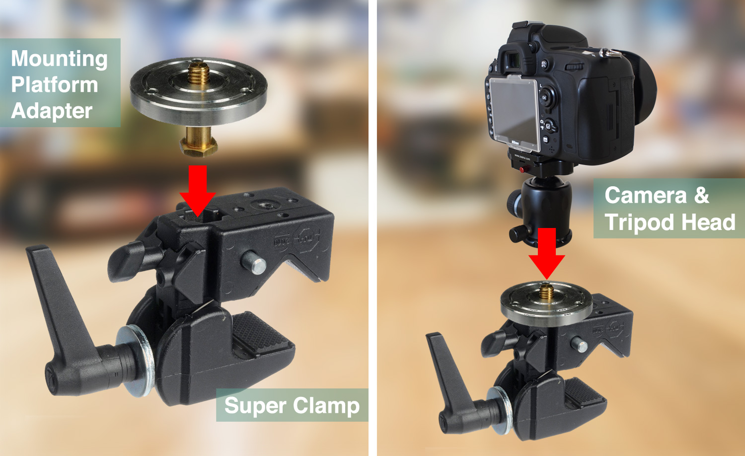 Image: LEFT: Plug a camera mounting platform adapter into a Super Clamp socket and secure it with a...