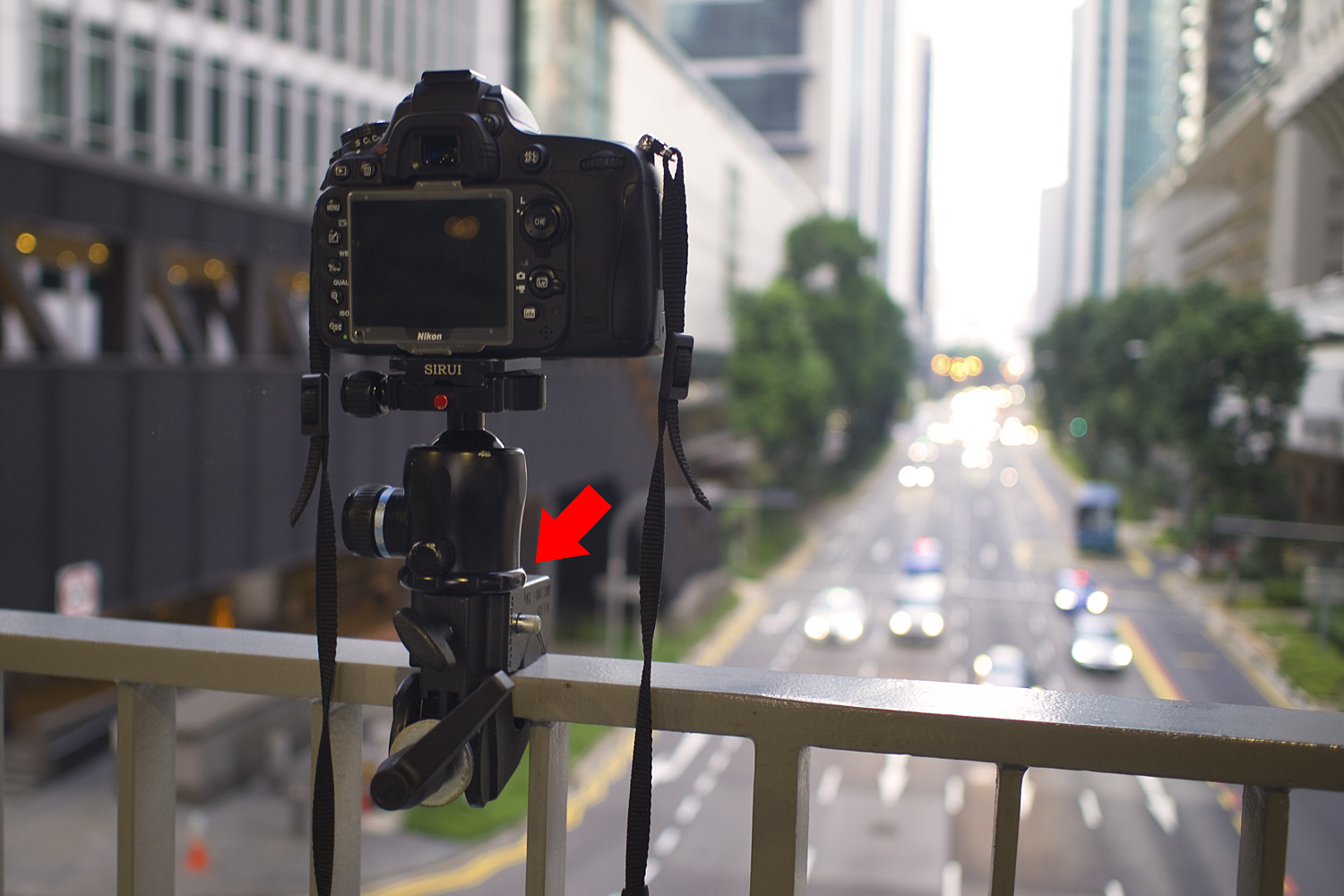 Image: With the short stud used, a tripod head sits flush with the Super Clamp. This setup can be as...