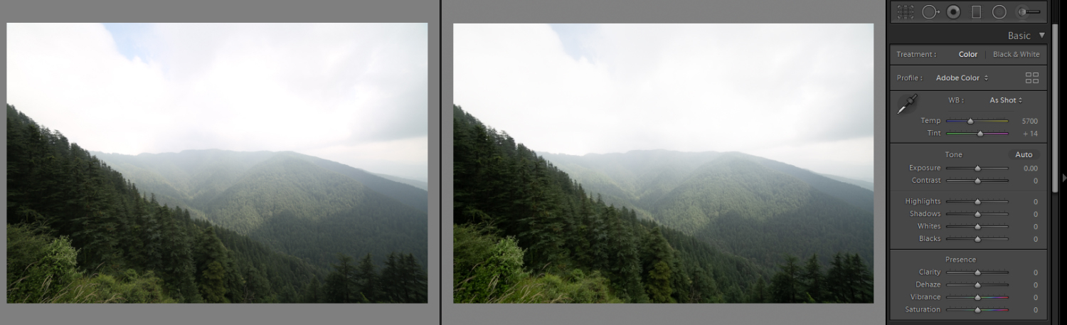 Image: The left image shows the jpeg file, while the right image shows the RAW file.