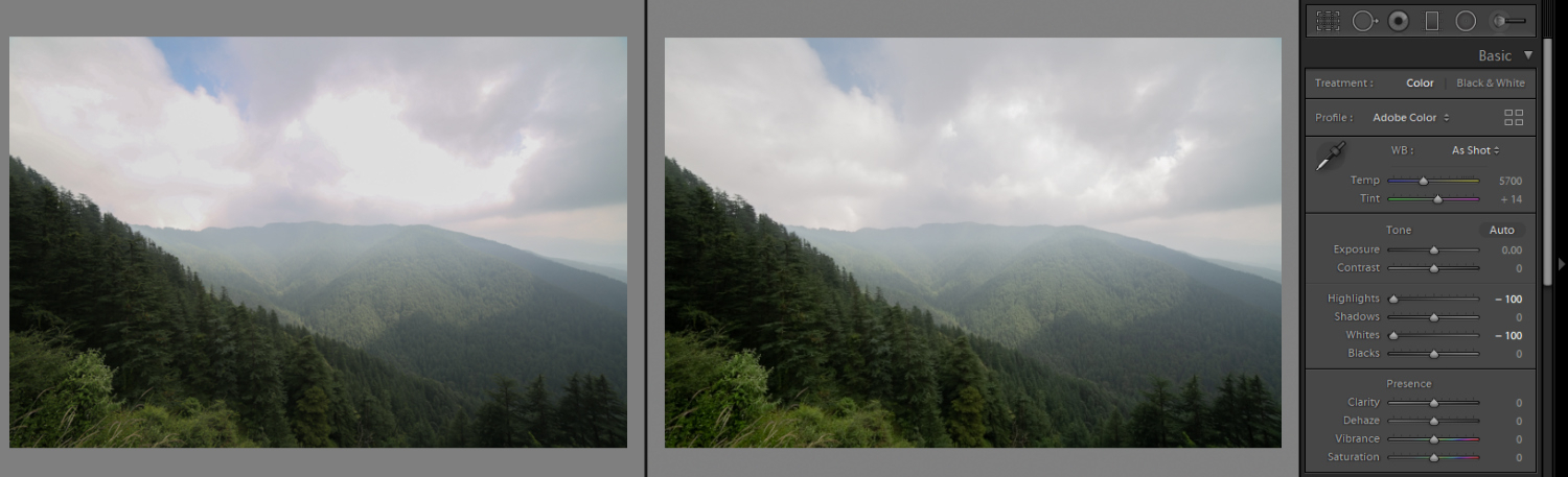 Image: The left jpeg image has struggled to retrieve the highlights, while the RAW file on the right...
