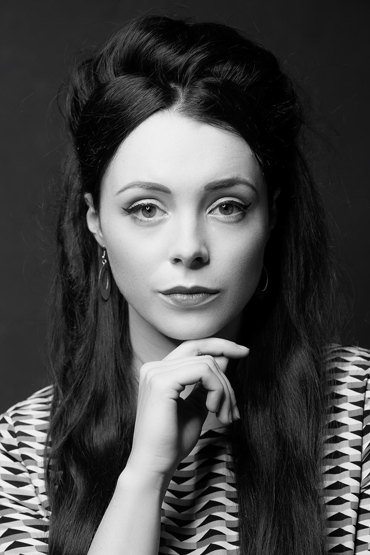 black and white ring-lit portrait
