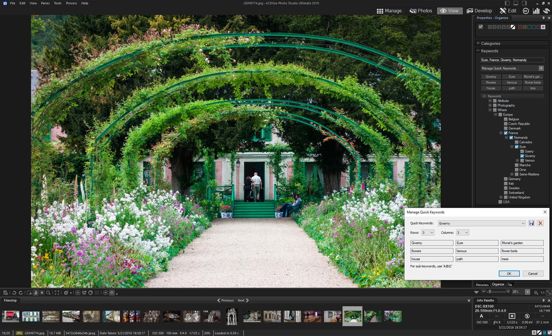 ACDSee Photo Studio Ultimate - keywording - quick keyword lists