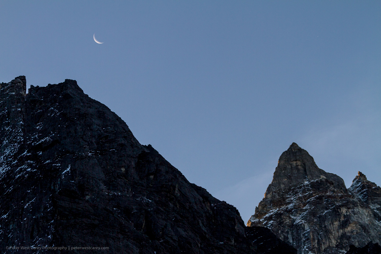 Image: Crescent moon setting over the Himalayas