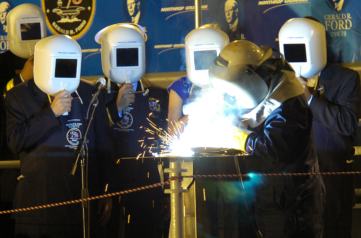 Image: These aren't spacemen. They are welders and that piece of glass you see in their helmet...